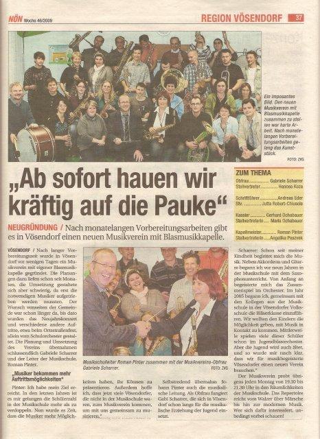 Zeitungsausschnitt Gründung MV Vösendorf